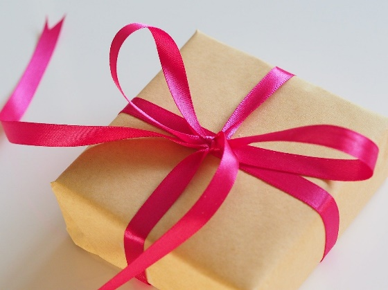 Gift wrapped in pink ribbon